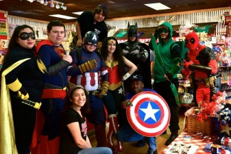 <p>Superheroes invade Rocket Fizz in San Antonio, Texas!</p>