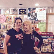 <p>Actress Stella Stevens visiting Rocket Fizz in Sherman Oaks, CA. Stellah starred in Girls! Girls! Girls! with Elvis Presley, The Poseidon Adventure, and dozens of other films. Here she is with Rocket Fizz Angela.</p>
