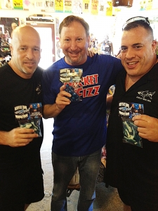 <p>Wayde and Brett of the Animal Planet hit TV show Tanked. Here they are with Rocket Fizz Rob holding their new Rocket Fizz manufactured and distributed candy. The Tanked candy will be available in all Rocket Fizz stores nationwide.</p>