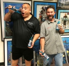 <p>Wayde King of the Animal Planet hit TV show Tanked is holding his newly bottled ATM blue cream soda pop bottled specially by Rocket Fizz. Here Wayde is with Rocket Ryan.</p>