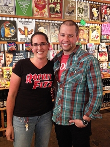 <p>Jon Cryer (Two and a Half Men, Pretty in Pink, etc.) visiting Rocket Fizz Sherman Oaks, California. Here he is with Rocket Angela!</p>