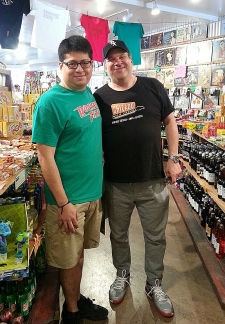 <p>Jeff Garlin of the TV show Curb Your Enthusiasm visiting Rocket Fizz Sherman Oaks, California. Here he is with store manager Rocket Bob.</p>