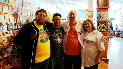 <p>Rocket Ryan with Mark, Mike, and Cheryl of Rocket Fizz University City, MO.</p>