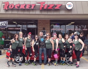 <p>The Rocket Fizz sponsored East Texas Bombers roller derby team hanging out with franchisee Steve at Rocket Fizz in Tyler Texas.</p>