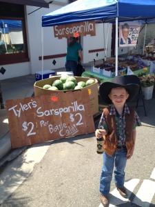 <p>Rocket Tyler selling his own Tyler Sarsaparilla</p>