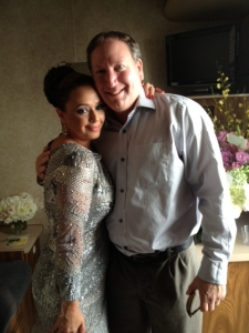 <p>Rocket Rob with Leah Remini of the hit TV show Kings of Queens.</p>