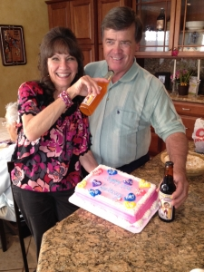 <p>Rocket Parents celebrating with their custom Rocket Fizz soda labels</p>