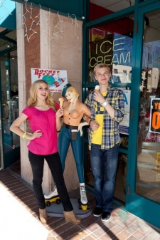<p>The Disney Channel's 'Shake It Up' TV show stars Caroline Sunshine and Kenton Duty visiting Rocket Fizz Glendale, California.</p>
