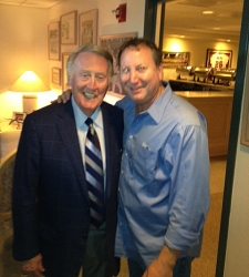 <p>Rocket Rob with Hall-of-Fame Los Angeles Dodger announcer Vin Scully. Vin dropped by the Gene Autry owner suite at Angel Stadium and said hello to Rocket Rob and Ryan before the Dodgers-Angels inter-league game began.</p>