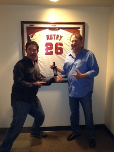 <p>Ryan and Rob holding the Rocket Fizz bottled Gene Autry Root Beer in the Gene Autry owner's box at Angel Stadium. Thank you to Rocket Fizz friend Jackie Autry for your support.</p>