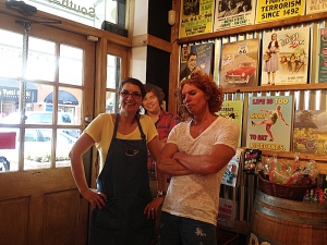 <p>Carrot Top on one of his visits to Rocket Fizz in Winter Park, Florida. Pictured with Carrot Top is franchisee Rocket Shareen.</p>