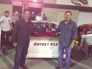 <p>The Rocket Fizz NASCAR race truck took second place at the Whelan All-American NASCAR truck race on April 27, 2013 at the Irwindale Motor Speedway. Rocket Fizz founders Ryan and Rob are standing with the truck.</p>