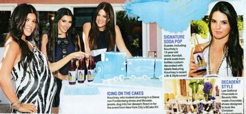 <p>The Kardashians with Kourtney Kardashian's baby shower bottled soda pop, bottled specially by Rocket Fizz (Photo is from Life & Style Magazine).</p>