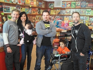 <p>Dominic and Billy (far left/far right)--two of the Hobbits from Lord of the Rings visiting Rocket Fizz San Luis Obispo, California.</p>