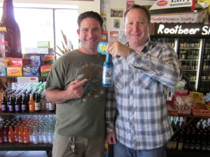<p>Rob and Ryan with the first of many, many Rocket Fizz bottled soda pops to come.</p>