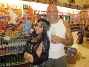 <p>Snooki (Nicole Polizzi) and her dad Andy at Rocket Fizz Westwood Village.</p>