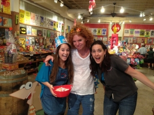 <p>Rocket Stephanie and Rocket Angela with Carrot Top on one of his many Rocket Fizz visits. In this picture Carrot Top is at Rocket Fizz in Winter Park, Florida.</p>
