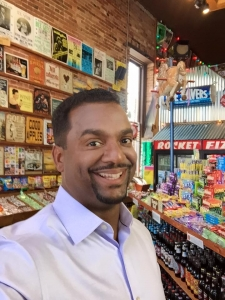 <p>Alfonso Ribeiro (host of the Food Network TV show Unwrapped and former co-star of the hit TV shows Fresh Prince of Bel-Air and Silver Spoons) visits Rocket Fizz.</p>