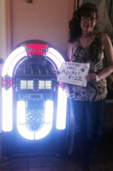 <p>Congratulations to Susan from Florida! Susan is the Rocket Fizz sweepstakes Crosley jukebox winner! Enter the next Rocket Fizz sweepstakes and you can be the next big winner!</p>
