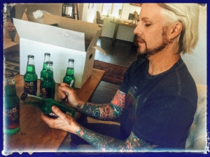 <p>World's greatest guitarist John 5 (Marilyn Manson, Rob Zombie, etc.) signing his Rocket Fizz bottled John 5 Limeade soda pops for fans.</p>