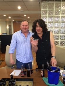 <p>Rock star Paul Stanley of KISS flavor testing future KISS sodas with Rocket Fizz co-founder Rob.</p>