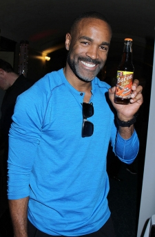 <p>Super good guy Donnell Turner of General Hospital. Donnell loves our Rocket Fizz bottled Lester's Fixins Bacon Soda with Chocolate.</p>