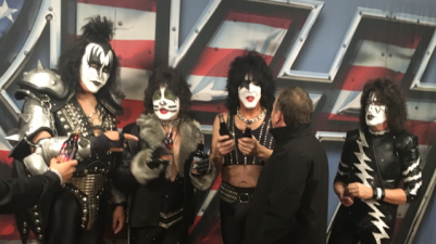 <p>Rocket Fizz co-founder Rob talking KISS soda pops with the iconic group KISS.</p>