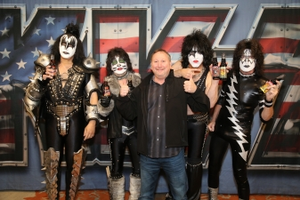 <p>Legendary rock band KISS holding Rocket Fizz bottled KISS soda pops. The great tasting and collectible sodas are available at all Rocket Fizz stores across America.  Rocket Fizz co-founder Rob (featured on the CBS hit TV show Undercover Boss) is photographed as well.</p>