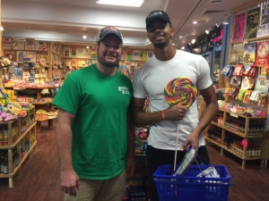 <p>Charlotte Hornets shooting guard Jeremy Lamb visiting Rocket Fizz in downtown Charlotte, NC on the first day of opening.</p>