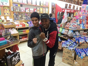 <p>Rocket Fizz Josh with Sugar Ray Leonard at Rocket Fizz Westwood.</p>