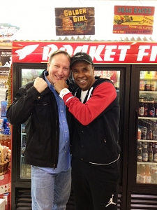 <p>Rocket Rob and Sugar Ray Leonard having fun at Rocket Fizz in Westwood, California.</p>