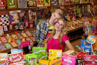 <p>The Disney Channel's 'Shake It Up' TV show stars Caroline Sunshine and Kenton Duty having fun inside of Rocket Fizz Glendale, California.</p>