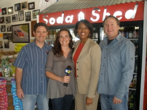 <p>TV news reporter at Rocket Fizz</p>