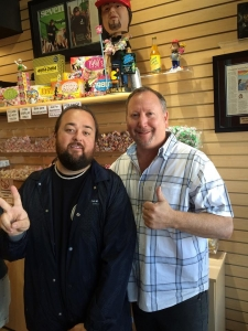 <p>Rocket Fizz co-founder Rob with Pawn Stars TV show star Chumlee in Las Vegas. Rocket Fizz will soon be bottling and distributing Chumlee's most awesome root beer!</p>