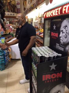 <p>Iron Mike Tyson is at Rocket Fizz promoting his Iron Energy drinks. Rocket Fizz carries all of the former world heavyweight champion's Iron Energy drink line. </p>
