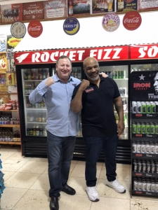 <p>Former world heavyweight champion Mike Tyson with Rocket Fizz co-founder Rob. Mike is promoting his fantastic Iron Energy drink line at Rocket Fizz Westwood, California.</p>